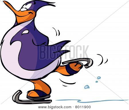 Ice-skating penguin