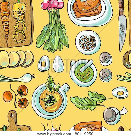 beautiful hand- drawn seamless pattern vegetarian on ellow background poster