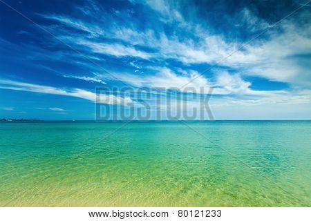 Sihanoukville beach with beautiful sky cloudscape, Cambodia