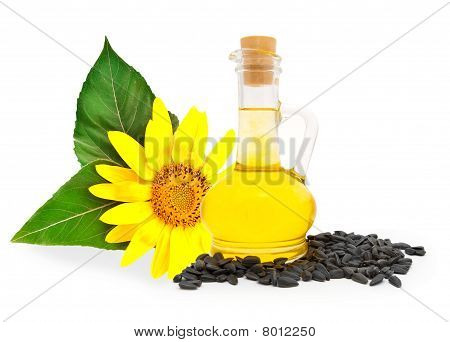 Small bottle with sunflower-seed oil and sunflower seeds poster
