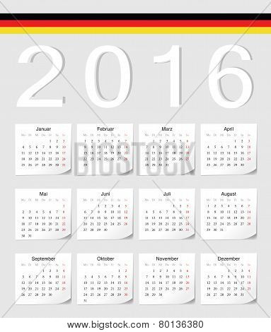German 2016 Calendar