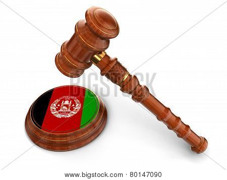 Wooden Mallet and Afghani flag (clipping path included)