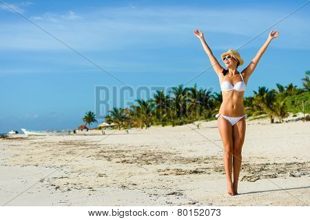 Joyful Woman On Tropical Caribbean Vacation