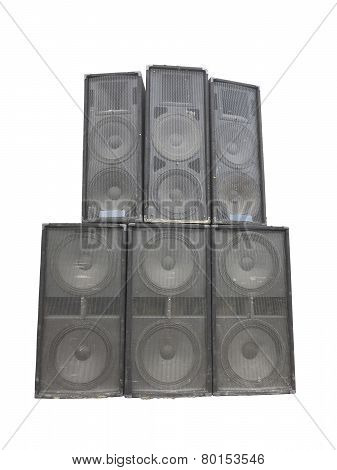 Old powerful stage concerto industrial audio speakers isolated on white background poster