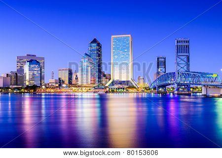 Jacksonville, Florida, USA downtown city skyline on St. Johns River. poster