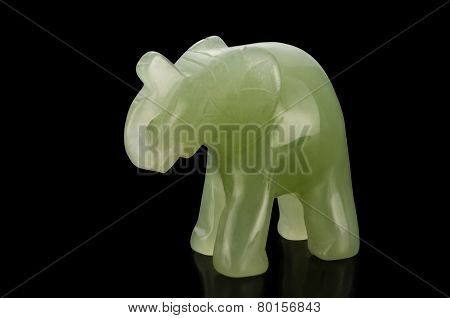 Green Jade Elephant Figurine