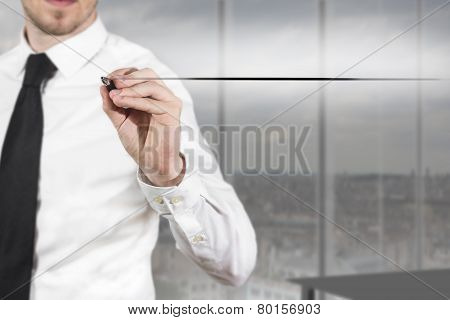 Businessman Drawing Line In The Air Office