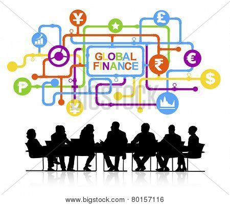 Vector of Business People Discussing Global Finance