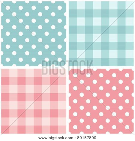 Tile baby pink and blue vector pattern set with polka dots and checkered plaid for seamless decoration wallpaper poster
