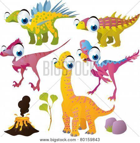 vector isolated cartoon cute animals set: dinosaurs: kentorsaurus, brachiosaurus, oviraptor,  unenlagia, nodosaurus