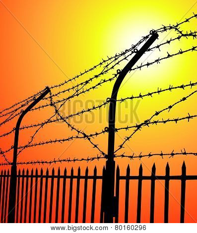 barbed wire fence at sunset