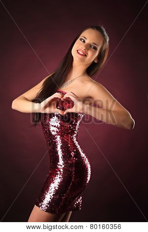 Valentines Beautyfull Girl With Smile And Hearth