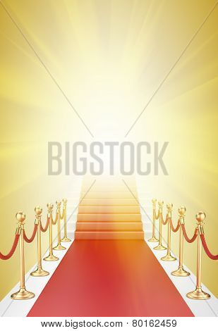 Staircase And Red Carpet Between Two Gold Stanchions With Rope