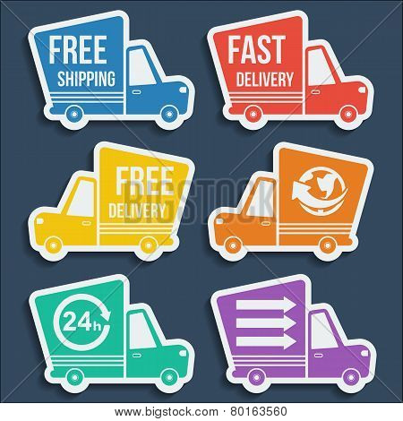 Free Delivery, Fast Delivery Icons Set. Vector.