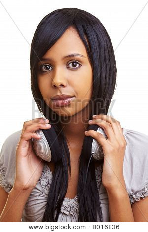 African With With Headphones Aroung Her Neck