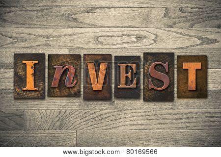 Invest Concept Wooden Letterpress Type