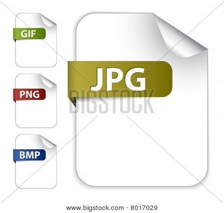 Vector Set Of Icons For Image File Extensions