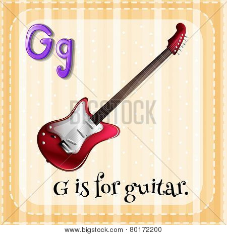 Illustration of an alphabet g is for guitar