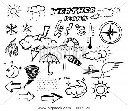 Set Of Weather Hand Drawing Icons