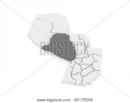 Map of Presidente Hayes. Paraguay. 3d