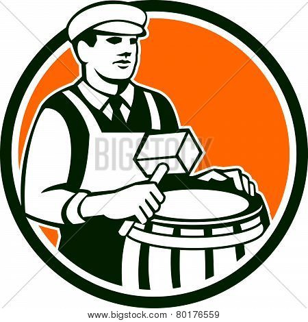 Illustration of a cooper barrel maker making a drum holding a mallet viewed from front set inside circle done in retro style. poster