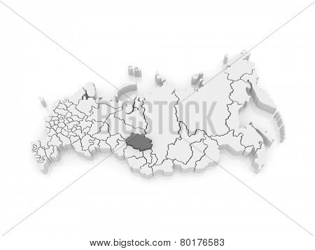 Map of the Russian Federation. Tomsk region. 3d poster