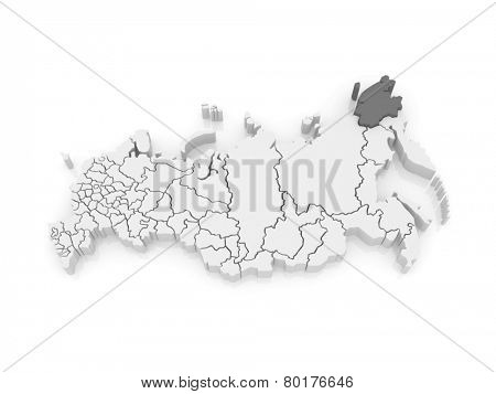 Map of the Russian Federation. Chukotka Autonomous Okrug. 3d