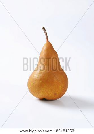 European pear with elongated slender neck and russeted skin