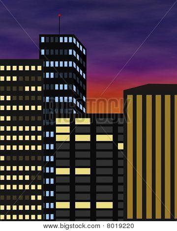 Evening City Skyline