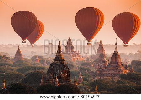 Balloon Over Plain Of Bagan In Misty Morning, Myanmar