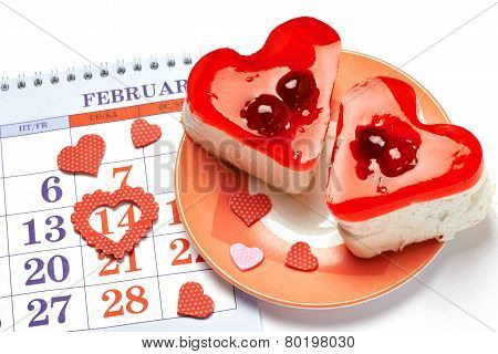 Two Jelly Heart-shaped Cakes And Calendar