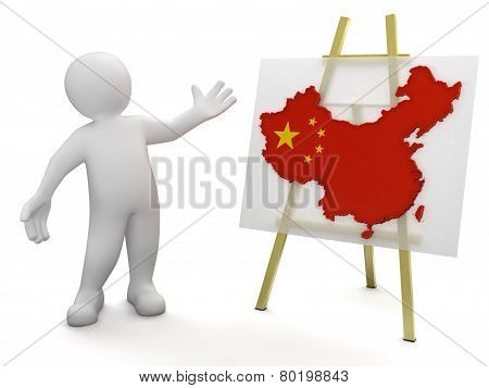 Man and Chinese map (clipping path included)