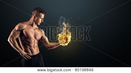 Handsome power athletic man bodybuilder doing exercises with dumbbell. Fitness muscular body on dark background. poster