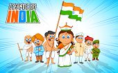 illustration of kids in fancy dress of Indian freedom fighter poster