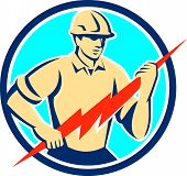 Illustration of an electrician construction worker holding a lightning bolt viewed from the front set inside circle done in retro style on isolated background. poster