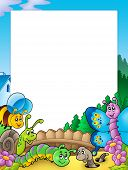 Frame with various garden animals - color illustration. poster