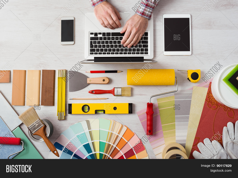 Professional decorator working desk image photo bigstock for Professional decorator