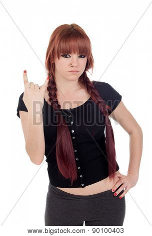 Bad teenage girl dressed in black with a piercing isolated on white background