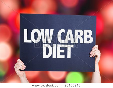 Low Carb Diet card with bokeh background