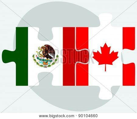 Mexico And Canada Flags In Puzzle