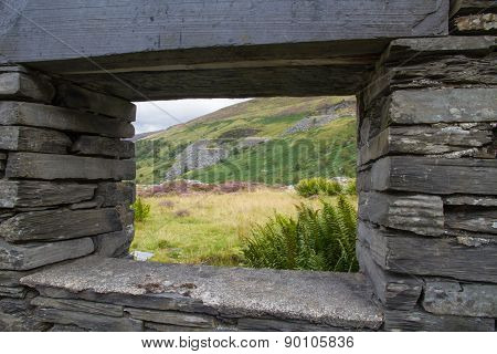 Welsh Hillside Through Ruined Window Frame