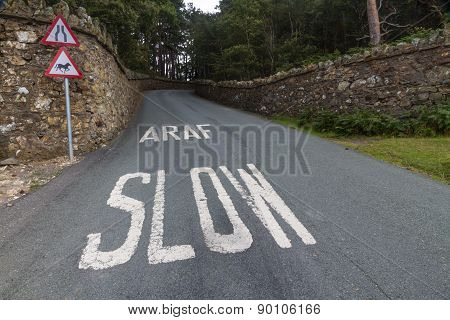 Araf, Slow, Bilingual White Warning On Welsh Road.
