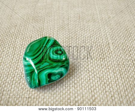 Polished Malachite Stone On Canvas Background