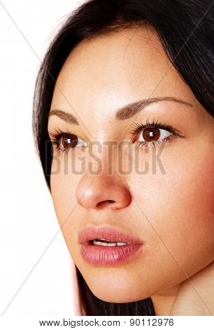 beautiful face of the young girl, close up