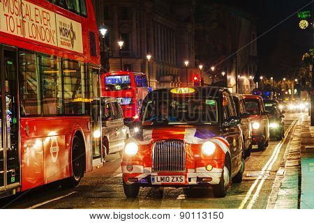 Famous Taxi Cab On A Street In London
