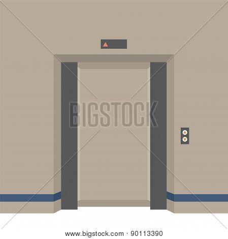 Open Doors Elevator Vector Illustration. EPS 10 poster