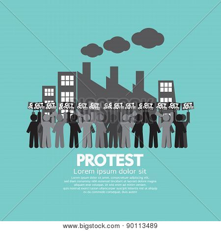 Group Of Workers Protest In Front Of The Factory Illustration. EPS 10 poster