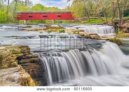 Red Covered Bridge And Whitewater