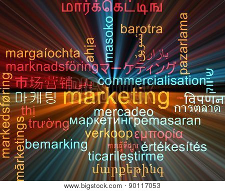 Background concept wordcloud multilanguage international many language illustration of marketing glowing light