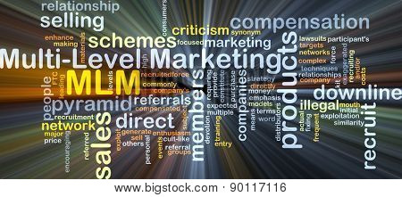 Background concept wordcloud illustration of multi-level marketing MLM glowing light